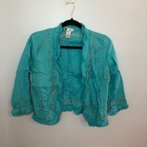 Carole Little Blue Linen Embroidered Cardigan Top